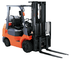 An orange forklift